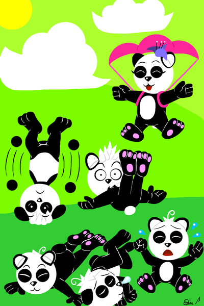 Baby pandas by EdvinDraw