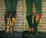 Green velvet and red brocade spats