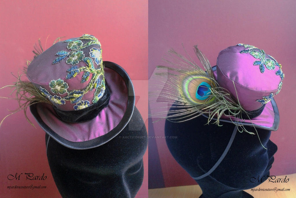 Purple mini top hat with hand-sewn embroid by arcticorset