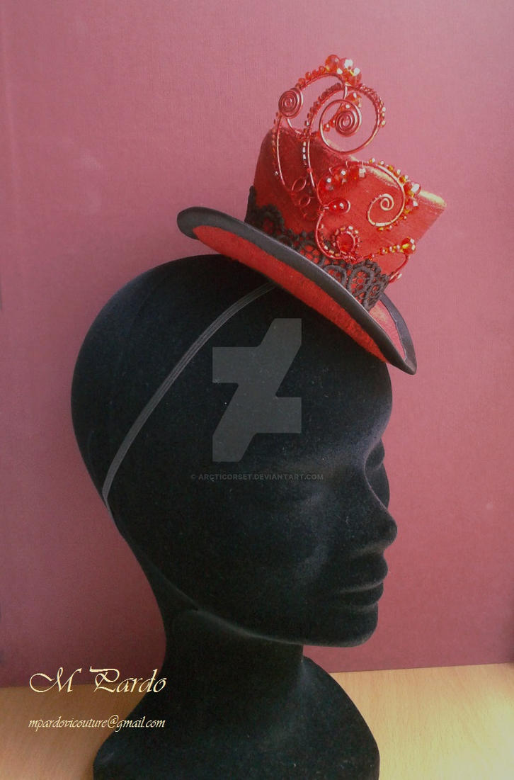 Red silk mini top hat with wire and crystals ornam by arcticorset