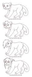 Big Cat Free Line Art by Kainaa