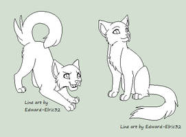 Free Domestic Cat Line Art by Kainaa
