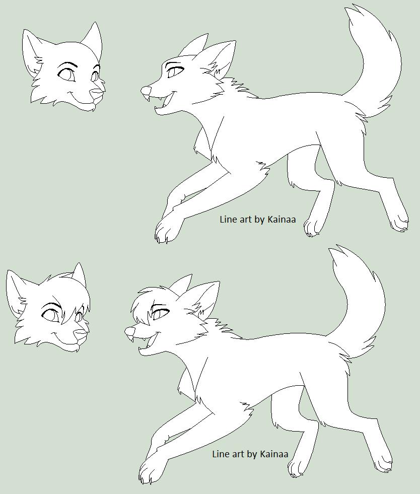 Wolf Line Art by Kainaa