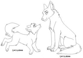 Wolf and Pup Base by Kainaa