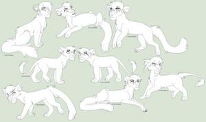 Lots Of Felines FREE Line Art by Kainaa