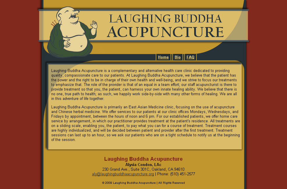 Laughing Buddha Acupuncture web design by Aurhia