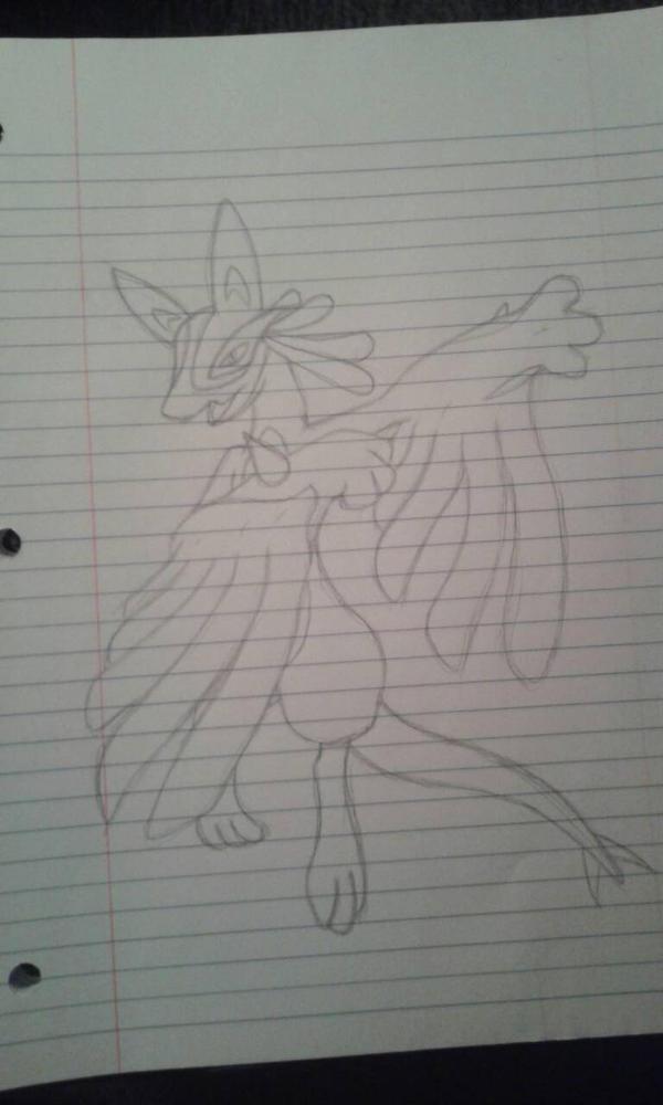 Pokemon Fusion: Lucario + Lugia by cereza13