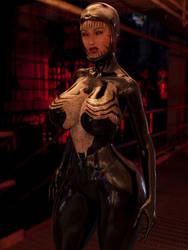 Female Symbiote ( Half Venom transform) by guhzcoituz