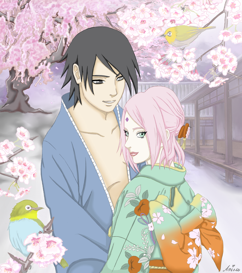 SasuSaku - Cherry blossoms by ArisuAmyFan