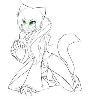 Feral Catgirl (Outline)