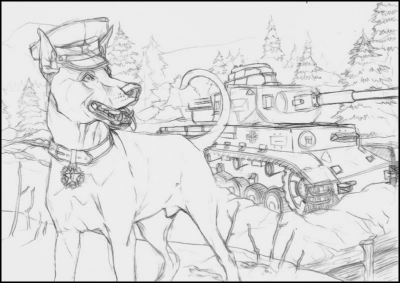 Sketch - Snowy Doberman by 25Nanao16