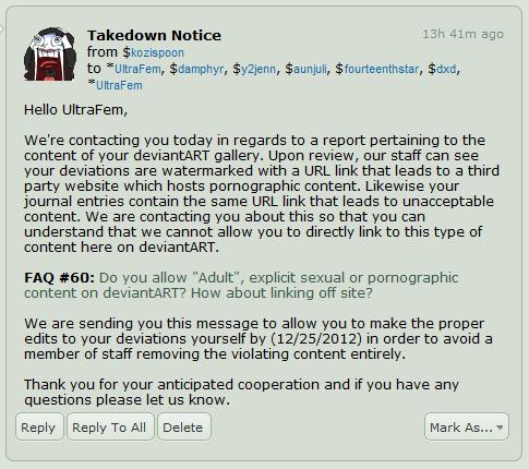 Takedown Notice D: by UltraFem