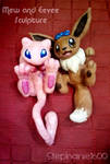 Mew and Eevee Sculptures