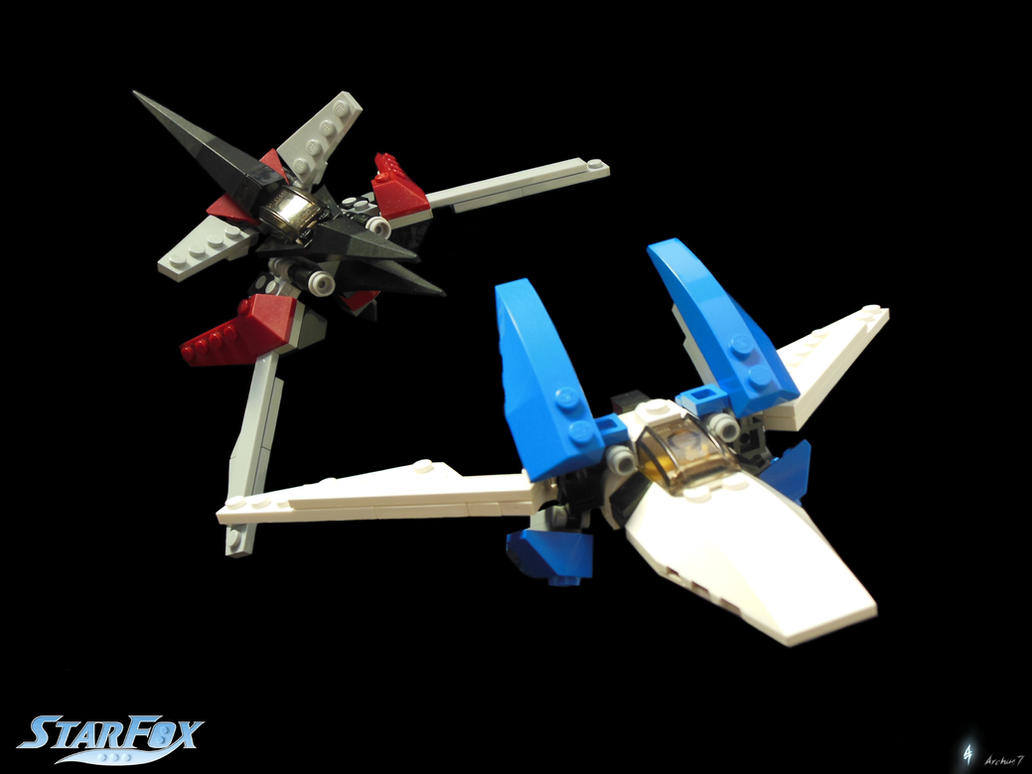 Star Fox Assault Lego Arwing Wolfen Mini Models By Archus7