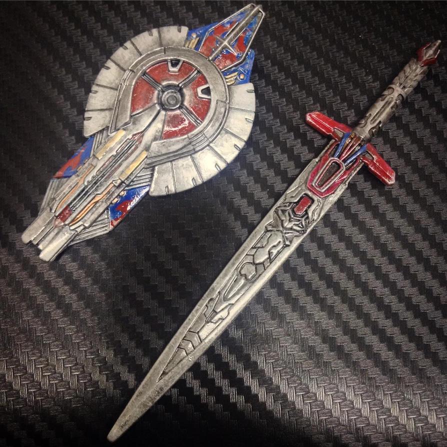 Custom Transformers TLK Optimus sword and shield by archus7