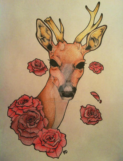 Traditional Deer Tattoo Drawing