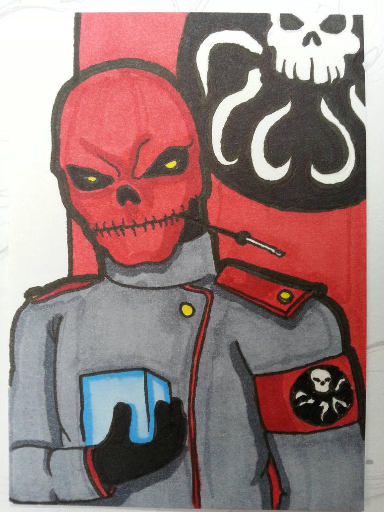 Red Skull sketch card by Chainsaw-Munkey