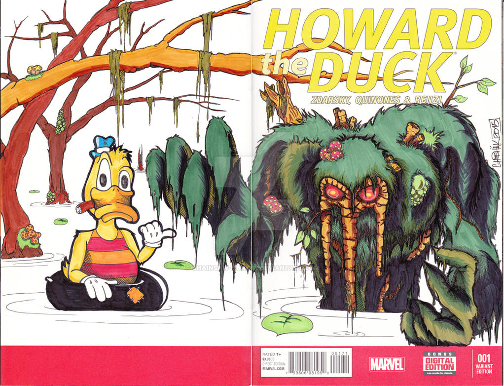 Howard the Duck sketch cover featuring Man-Thing by Chainsaw-Munkey