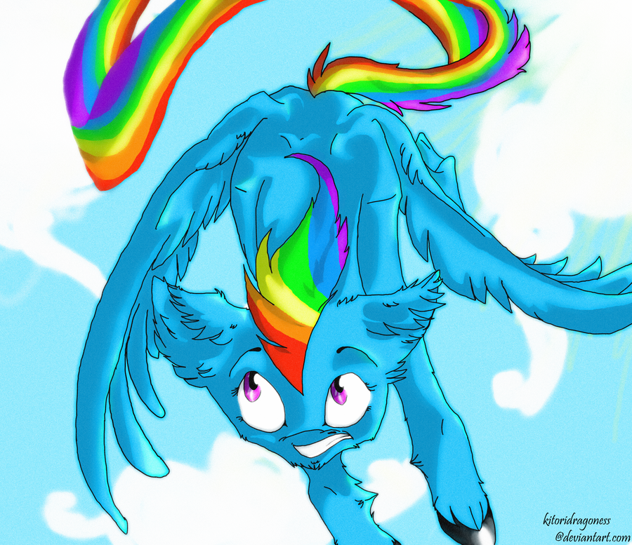 rainbow fly by kitoridragoness