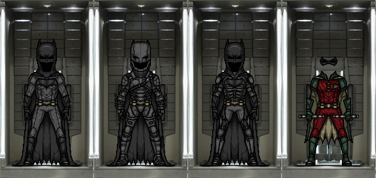 Hall of the BatSuits (DCEU) by TheNightDestroyer