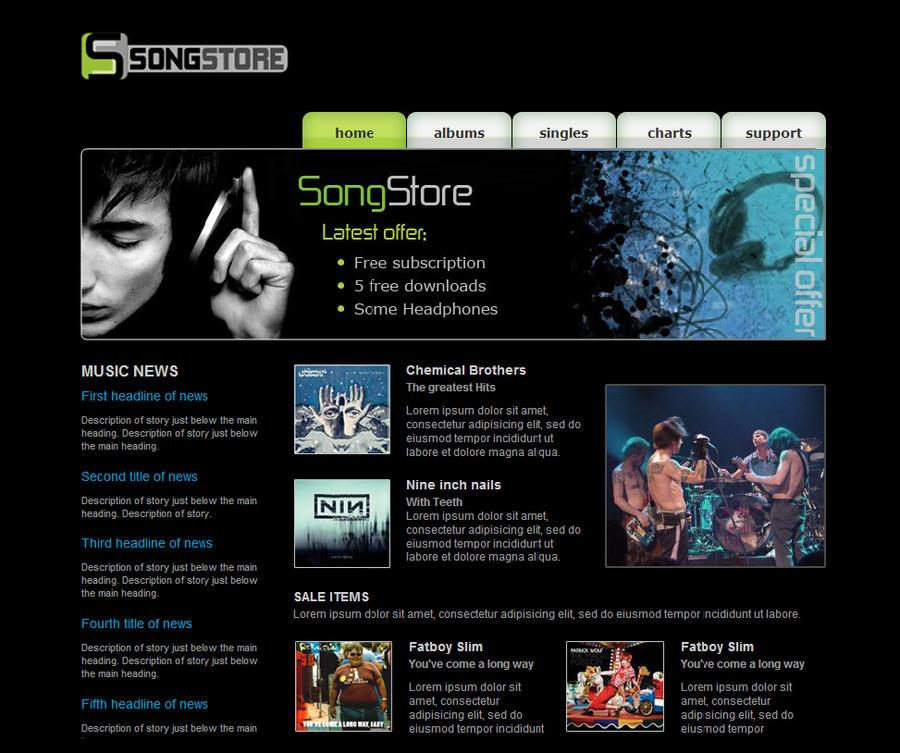 online music store web design by f05310019 on deviantart. Black Bedroom Furniture Sets. Home Design Ideas