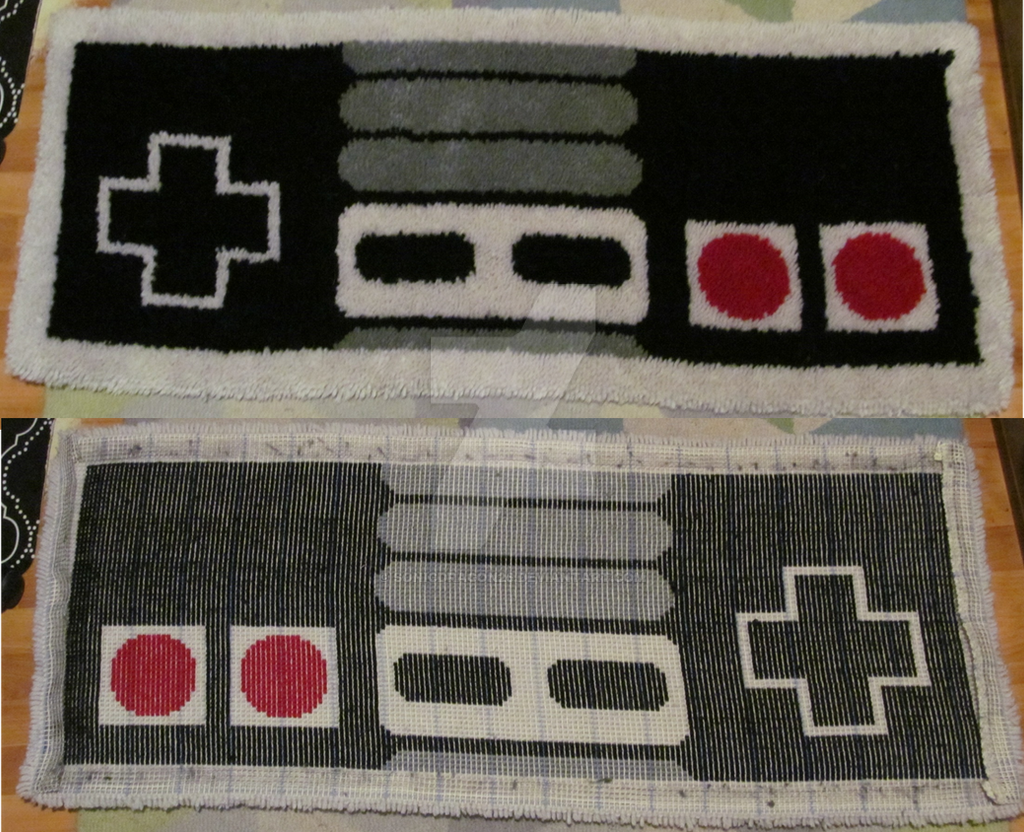 Nes controller latch hook rug by sonicdragon26 on deviantart Controller rug