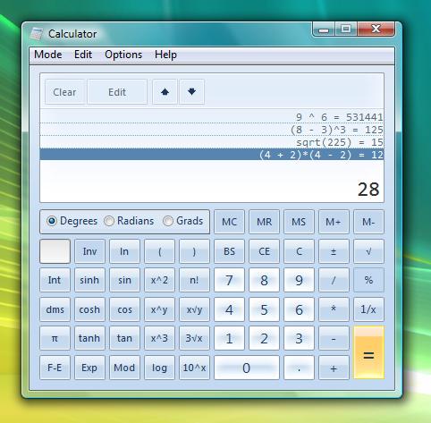 Where can you find the calculator in windows vista