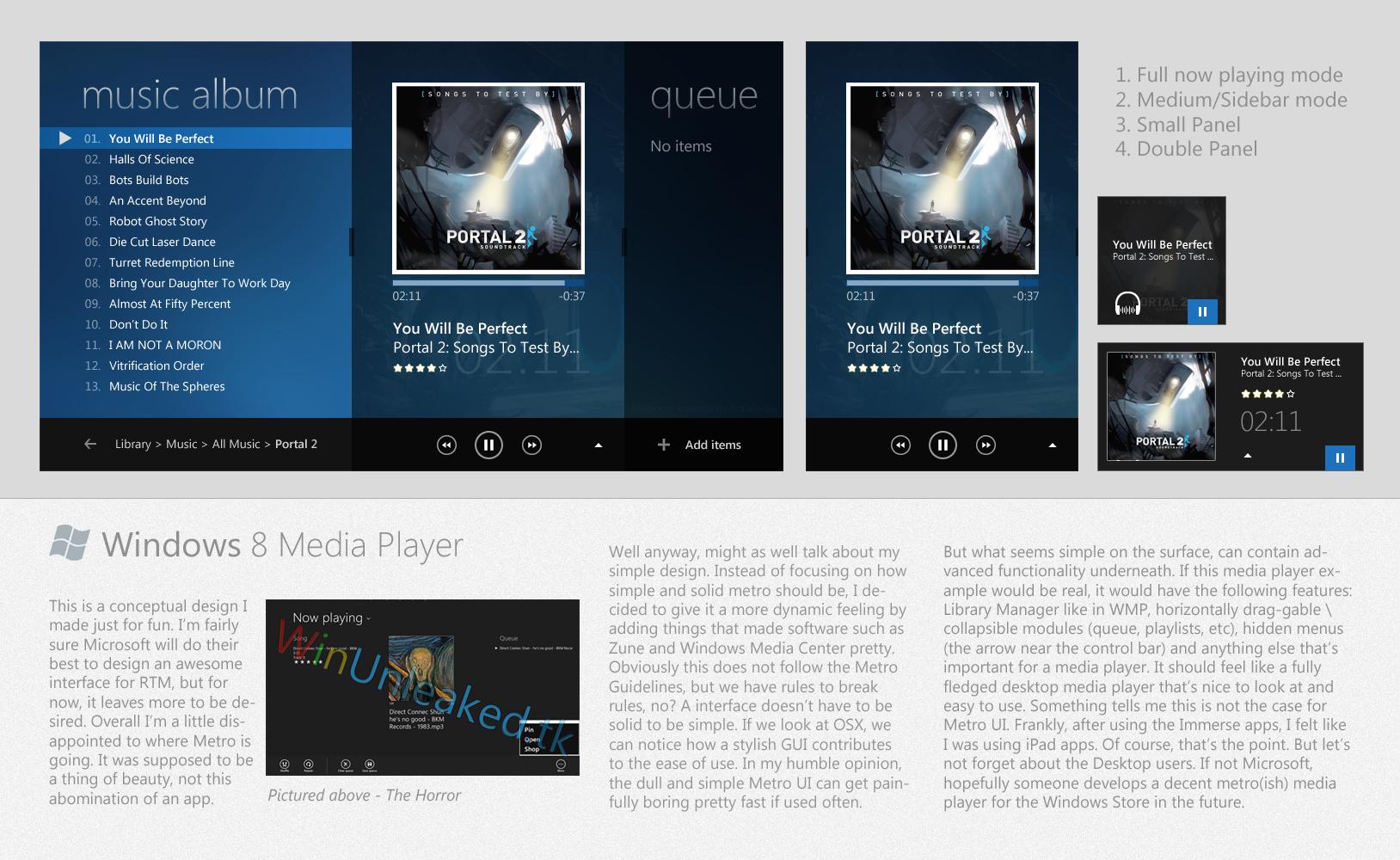 Windows 8 Media Player Concept