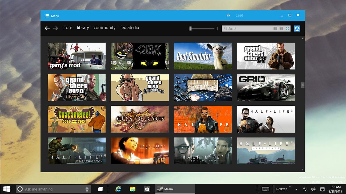 [WIP] [PREVIEW] Steam M10 - Windows 10 Theme by fediaFedia