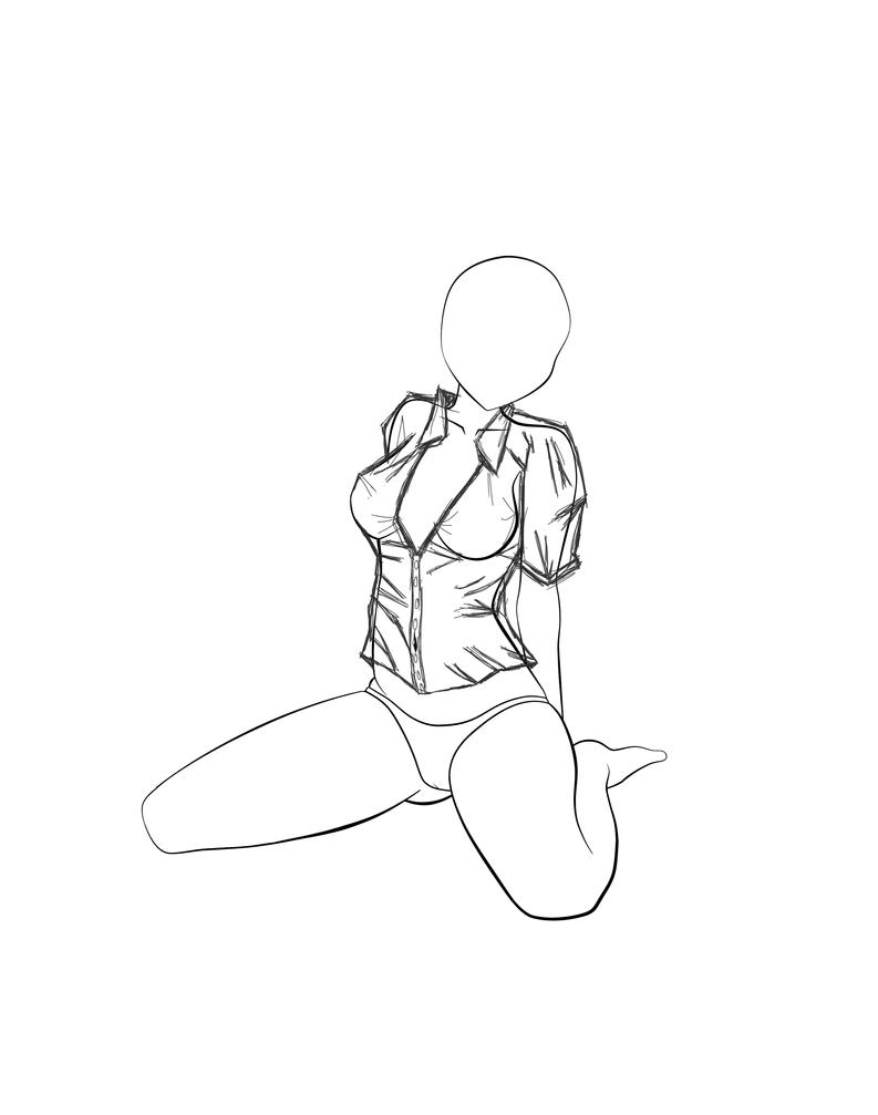 Line Drawing Body : Line art anime female body sketch coloring page