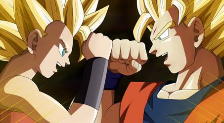 Goku and Caulifla by Cholo15ART
