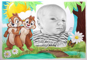 Commissioned portrait drawing. With Chip and Dale