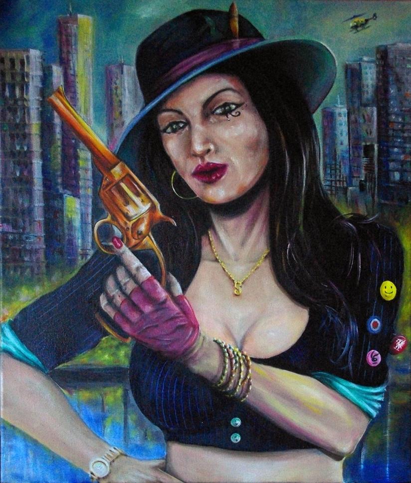 Gangster's Moll (oil On Canvas 50cm X 60cm) by bigbadfuds