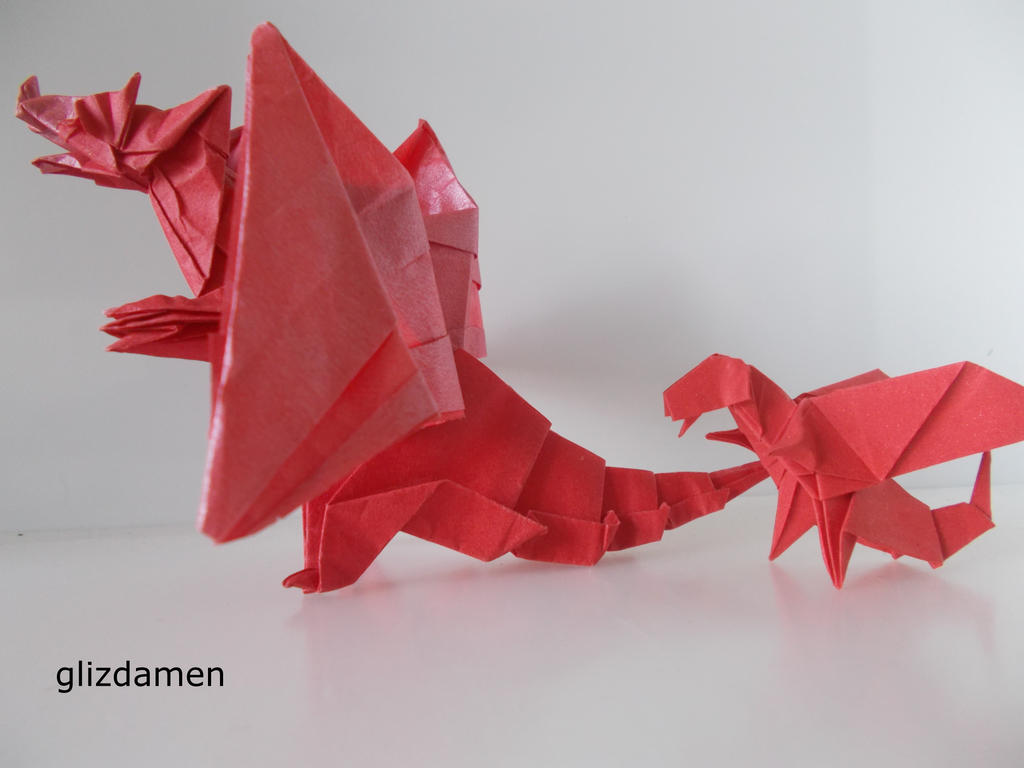 Origami Devil Dragon And Chibi By Glizdamen