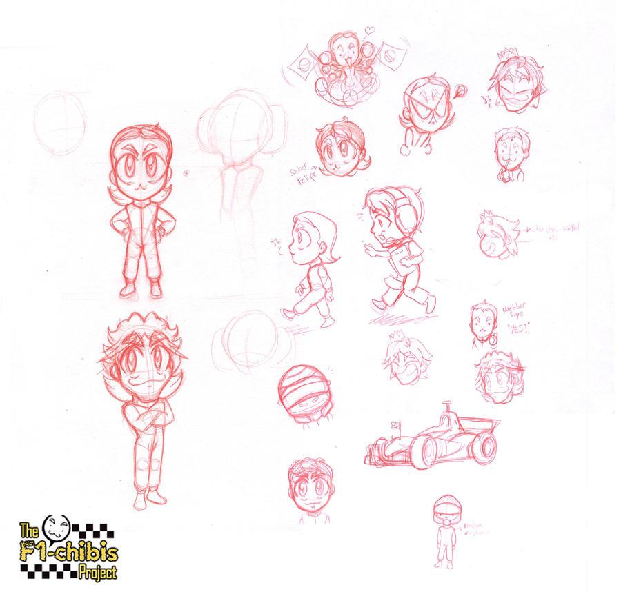 f1 chibis sketches by Noe-Izumi