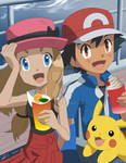 Ash, pikachu and Serena