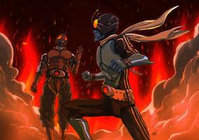 Kamen Rider 3 VS. Kamen Rider 4 by adivider