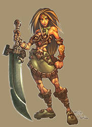 Conceptart: chick with sword by -seed-
