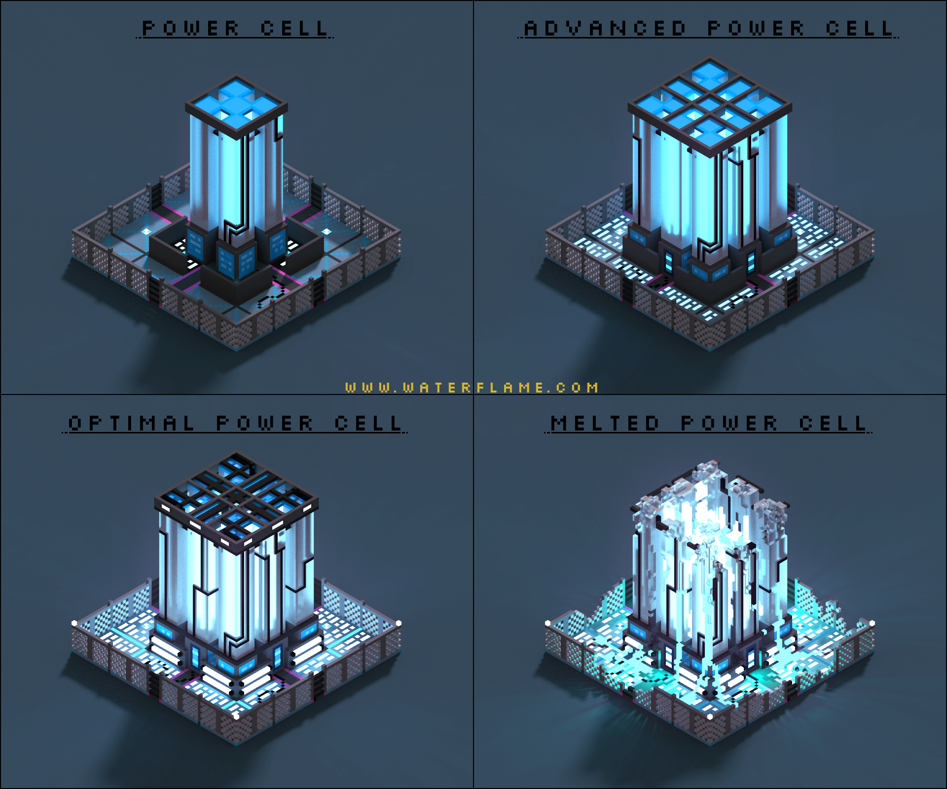 Power Cell - RTS concept - Voxel art