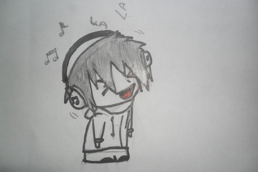 Cute CHibi Listening To Music By Nikiluv123