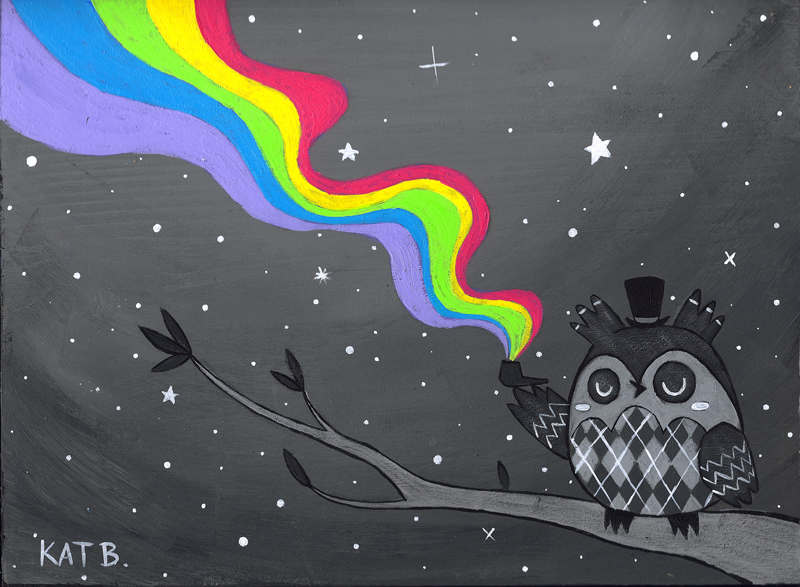 Smoke The Rainbow Argyle Owl by fuish