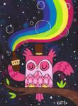 Drink the Rainbow Argyle Owl