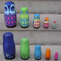 Argyle Owl Nesting Dolls by fuish