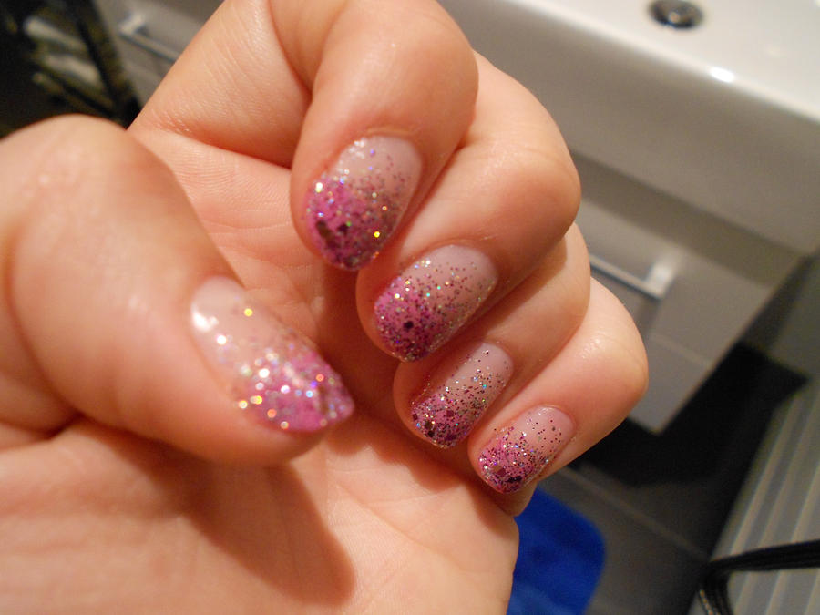 Ombre Nails Pink Glitter Pink Glitter Ombre Nail Art by