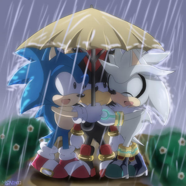 Three Hedgehogs under an Umbrella by MSN1412