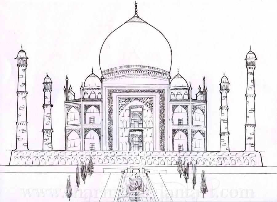 Taj Mahal Line Drawing Easy : The taj mahal by sharmz on deviantart