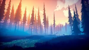Among Trees - River Sunset