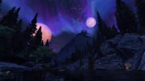 TES Skyrim - Aurora over the lake
