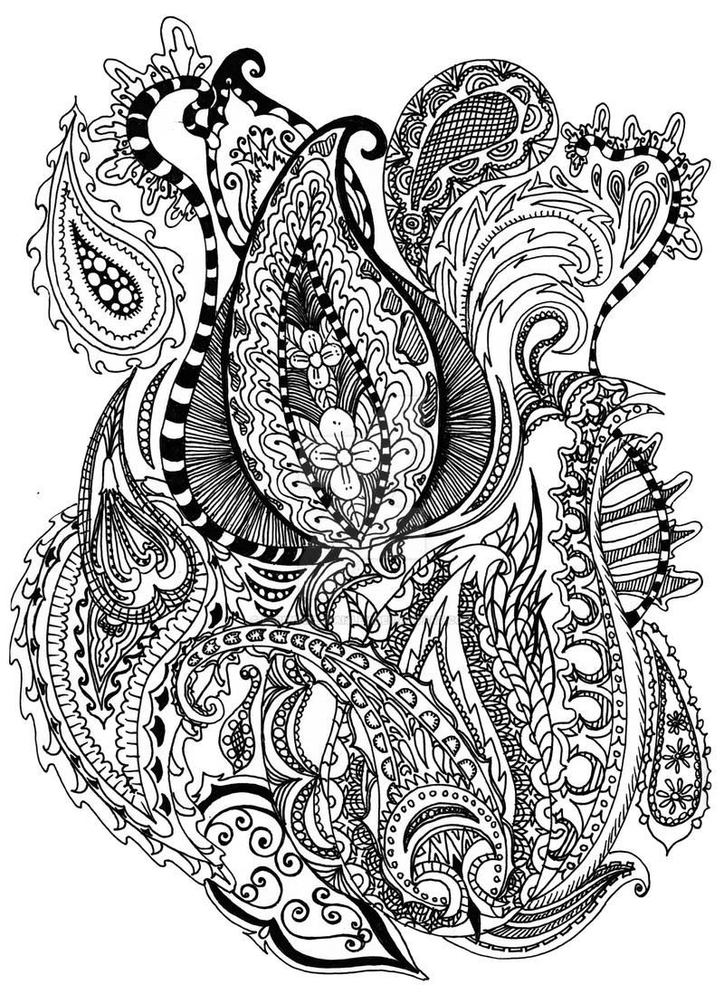 Dark and complex by periwinklepaisley on deviantart for Paisley elephant coloring pages