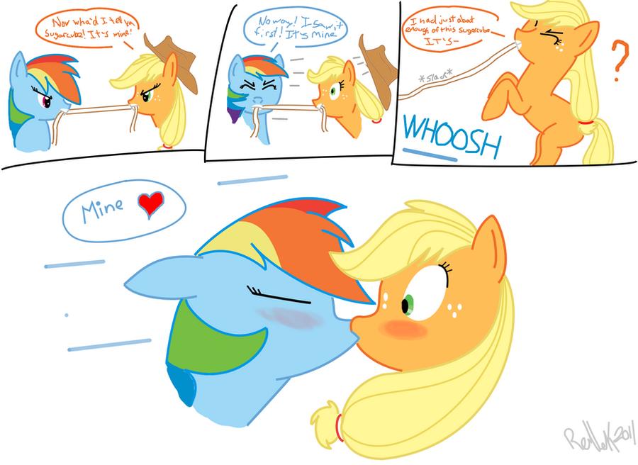 Rainbow Dash And Applejack Kiss